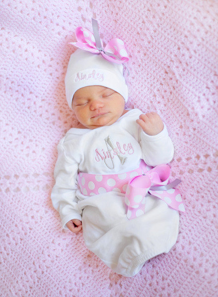 Personalized Baby Girl Coming Home Outfit Take Home From Hospital Embroidered Baby Clothes