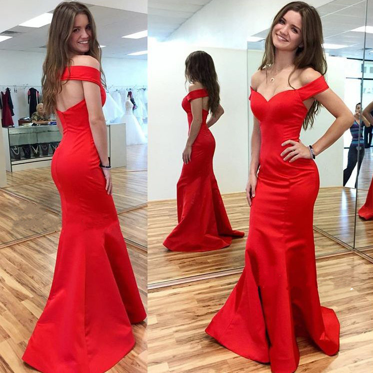 Red Real Made Mermaid Charming Prom Dresses,Long Evening Dresses ...