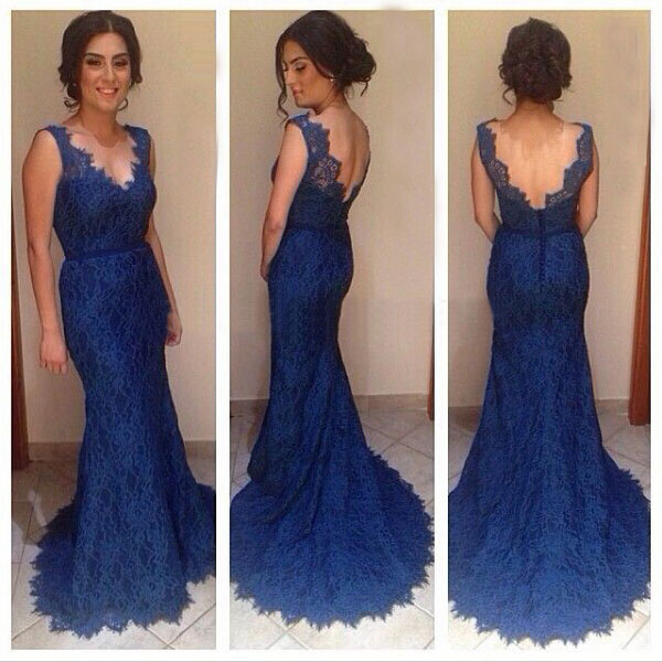 4209ffd0a91 Lace Real Made Custom Made Navy Blue Lace Evening Dress