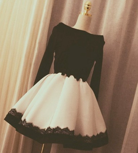 Elegant black and white long sleeve short prom dress 8ca4f32a2