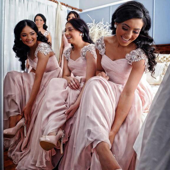 55631ba21ddcc1 Blush Bridesmaid Dress with Soft Ruching Detail, Cap Sleeve Chiffon  Bridesmaid Dress with Lace Appliques