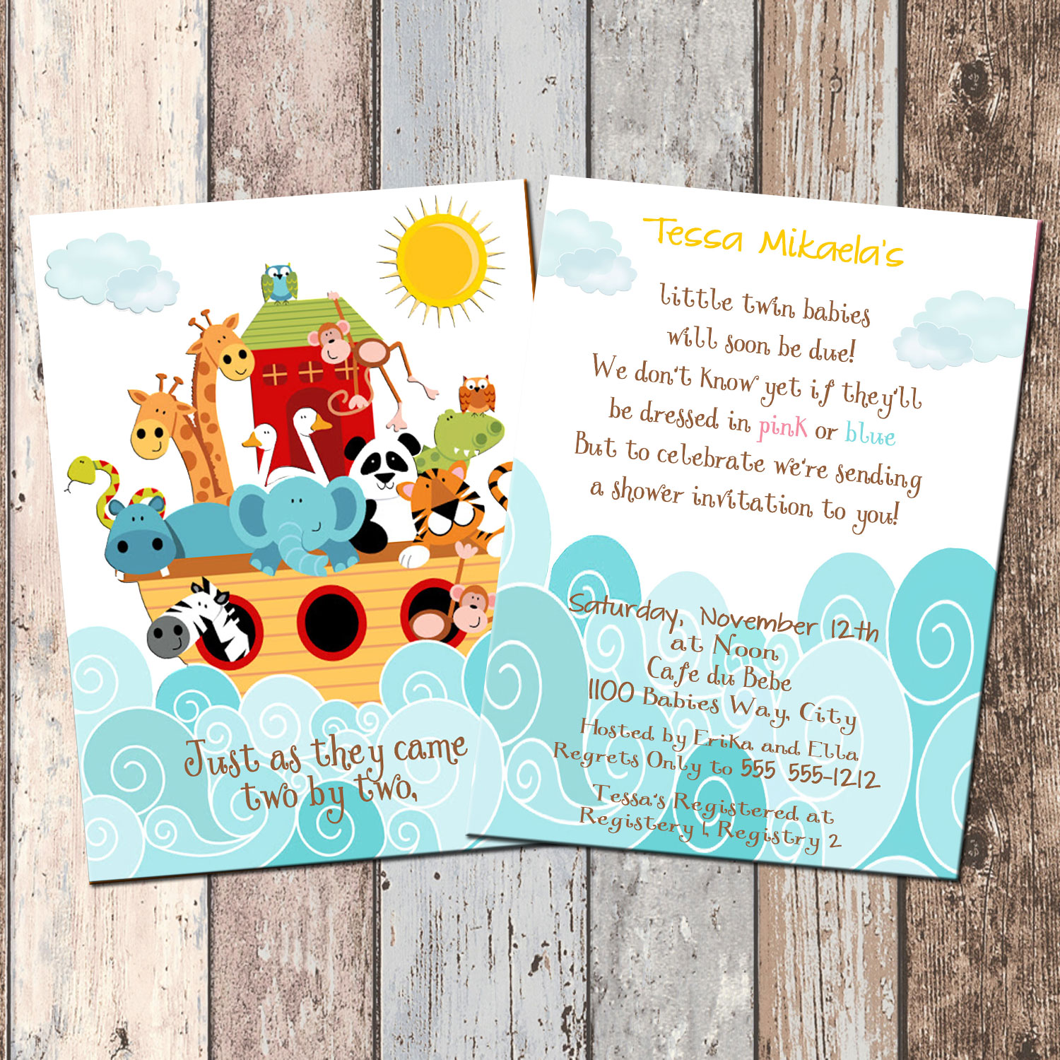 Noah's Ark Baby Shower Invitation-2 Sided