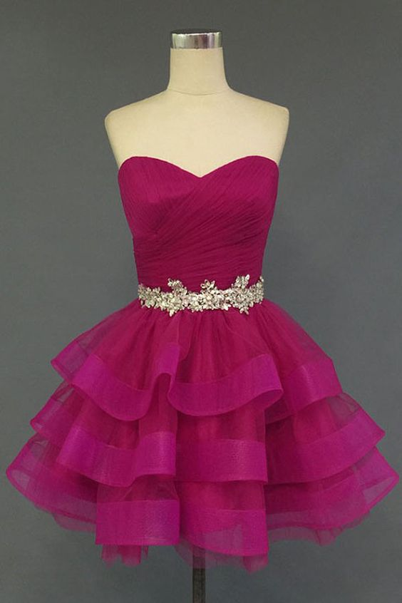 08a2b9df65b Hot pink Charming A-Line Short Prom Dresses