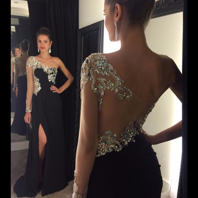 fdcb11d281a See-through beaded prom dress with side slit, black one shoulder prom dress,