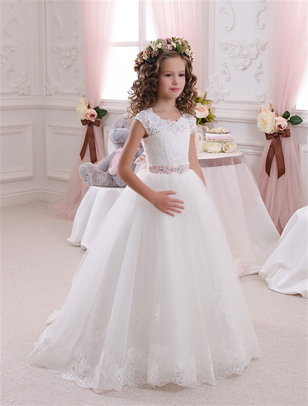 2016 White/Ivory Tulle Backless Lace Up Princess Ball Gowns Kids ...