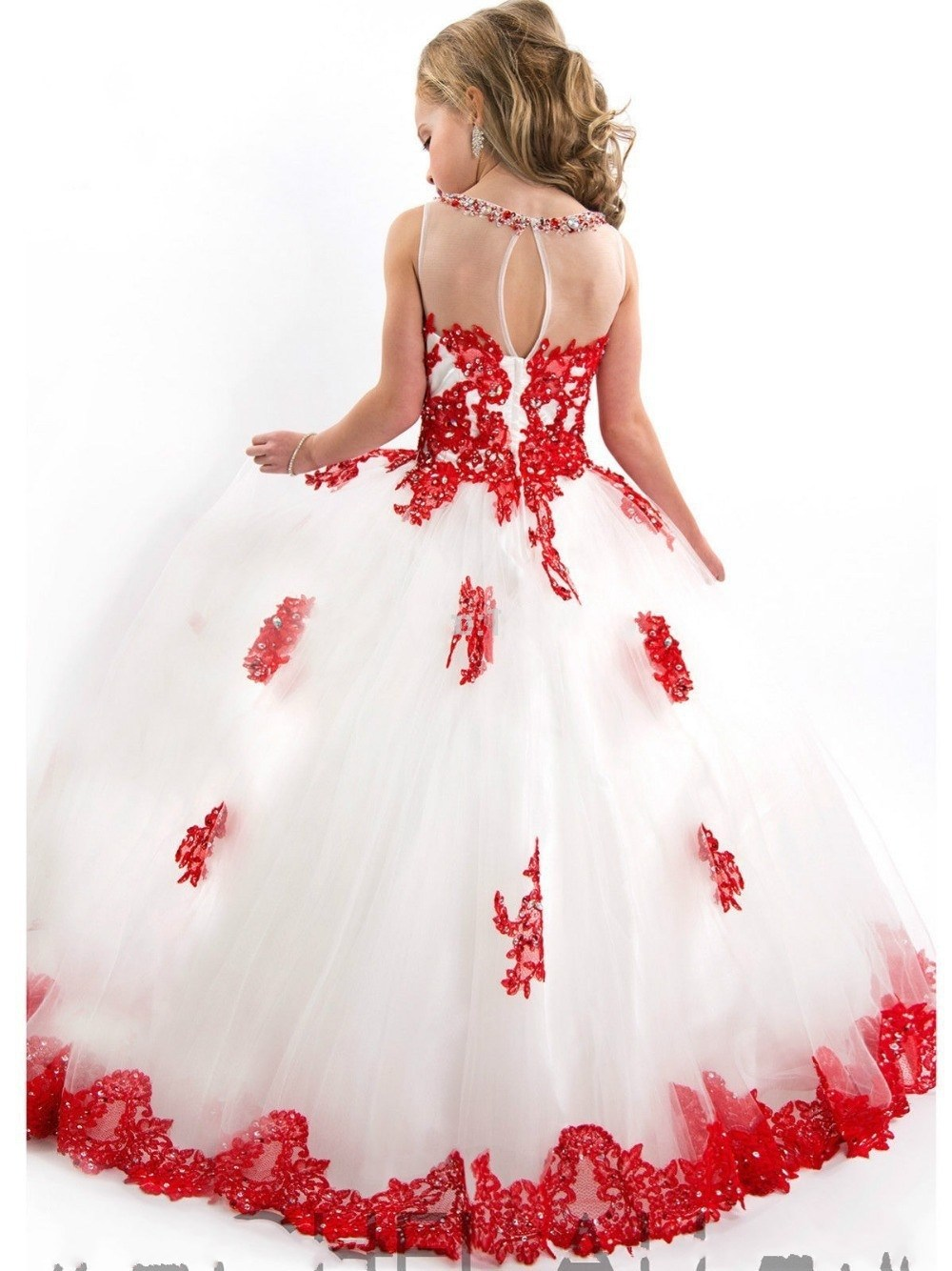 New Arrival Little Girl Ball Gown Scoop Appliqued Glitz Pageant 2016 ...