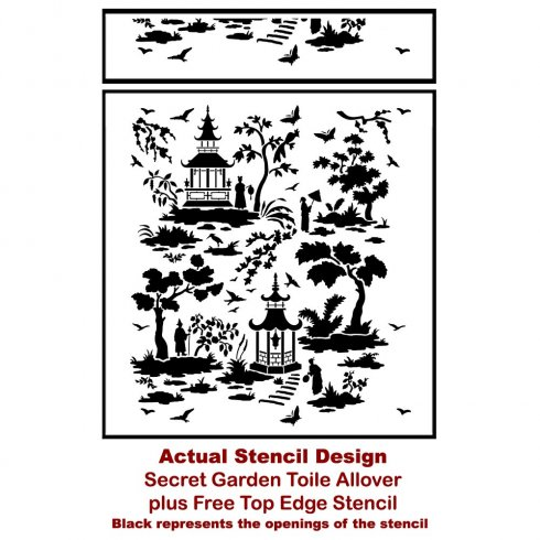 Secret Garden Toile Stencil Pattern - Easier Than Wallpaper - DIY Home  Improvement Project from Cutting Edge Stencils
