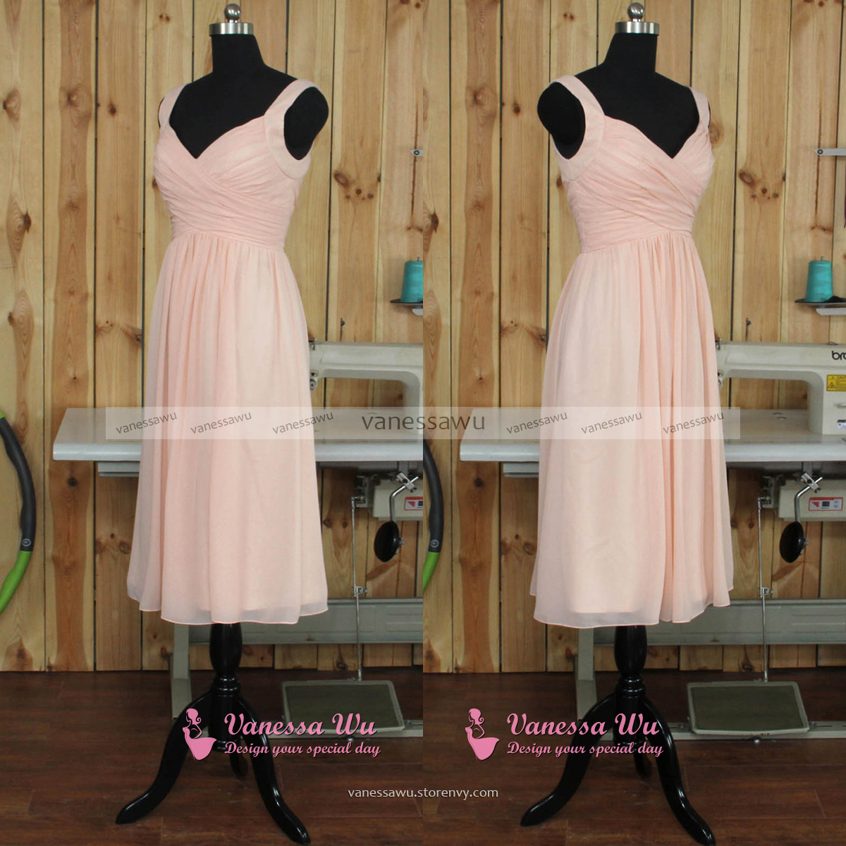 Short Pink Bridesmaid Dress with Soft Pleats, Modern V-neck ...