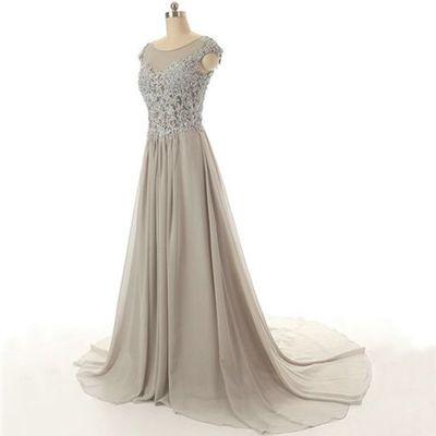 Gray Prom Dress,Floor length prom dress,long prom dress,cheap prom ...