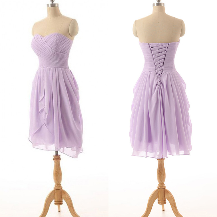 15c2bceed86 Classic strapless bridesmaid dresses lavender chiffon bridesmaid dress with  ruching detail simple short bridesmaid gowns 01012825