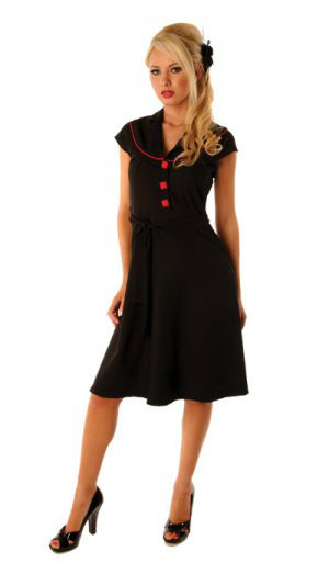 Folter Vintage Flair Retro 1950s Black Dress With Red Buttons Pinup