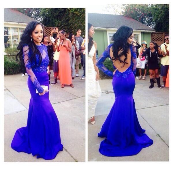 Custom Made Sexy Backless Prom Dresses Royal Blue Mermaid Prom