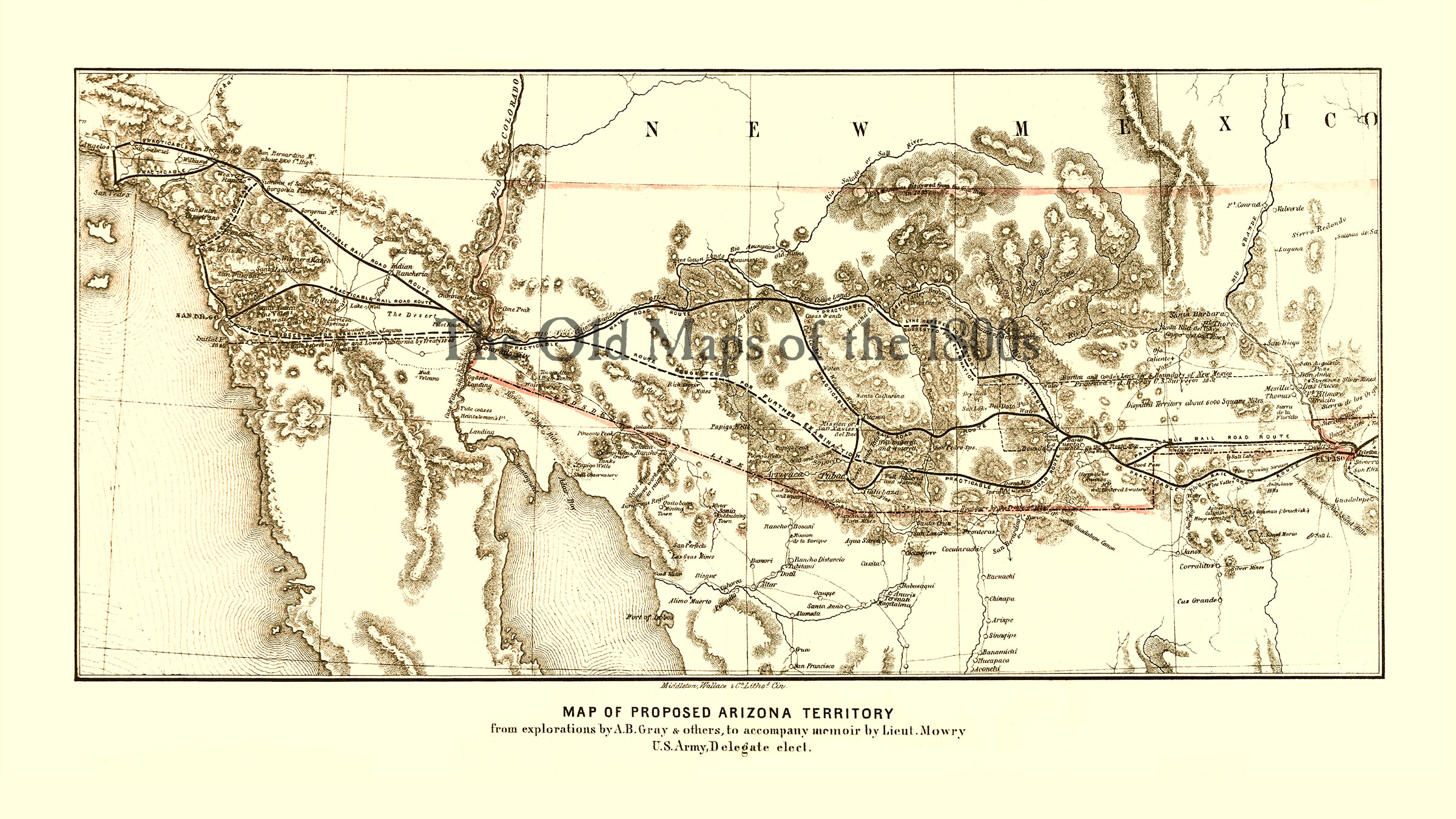 Map Of Old Arizona.Proposed Arizona Territory In 1857 Bird S Eye View Aerial Panorama Vintage Antique Map Reproduction Fine Art Wall Art History From The Old