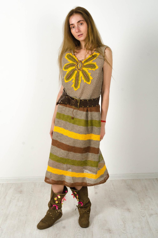 38a7348d874 Crochet dress Striped Linen Dress Knitted Dress Crochet Yellow ...