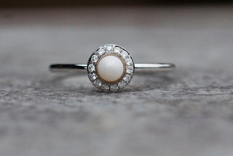 Pearl and diamonds wedding ring, halo engagement ring, pearl wedding ...