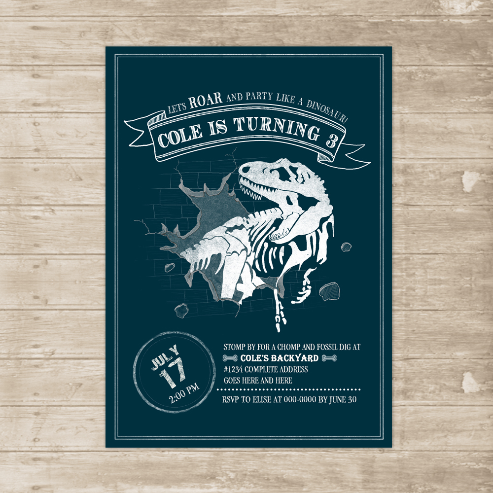 Dinosaur Birthday Invitation T Rex Fossil Dig Invite Prehistoric Dinomite Party Card