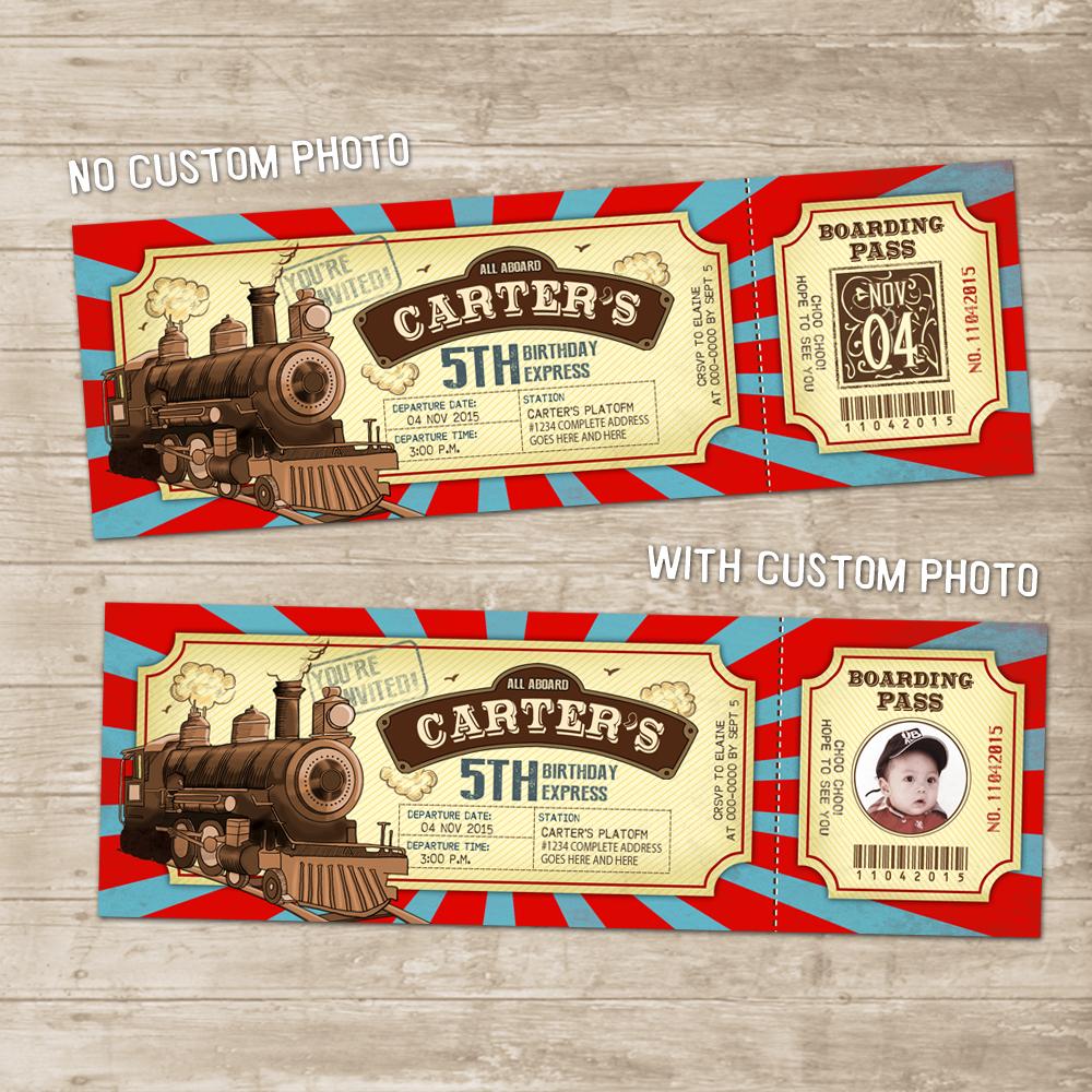 Vintage Train Ticket Invitation Locomotive Birthday Party Invite Red Tea