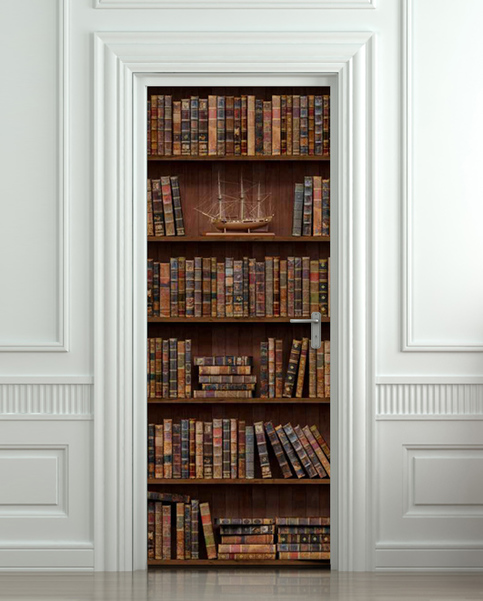 Door Wall Sticker Bookshelf With Antique Books Poster