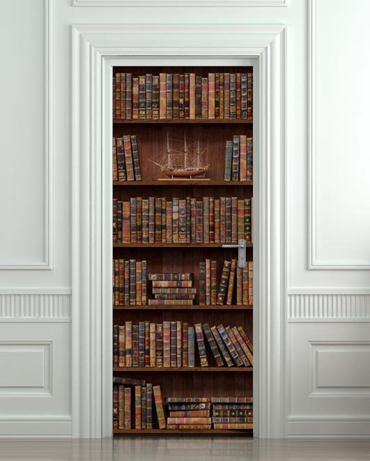 Door Wall STICKER Bookshelf With Antique Books Poster