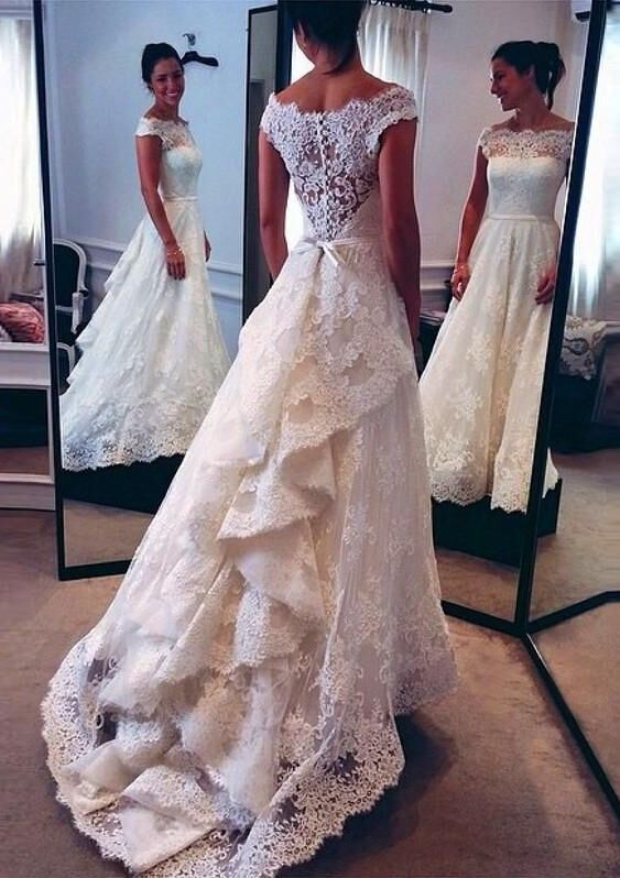 WD06 Charming Lace Wedding Dresses,A-Line Long Train Wedding Dress ...