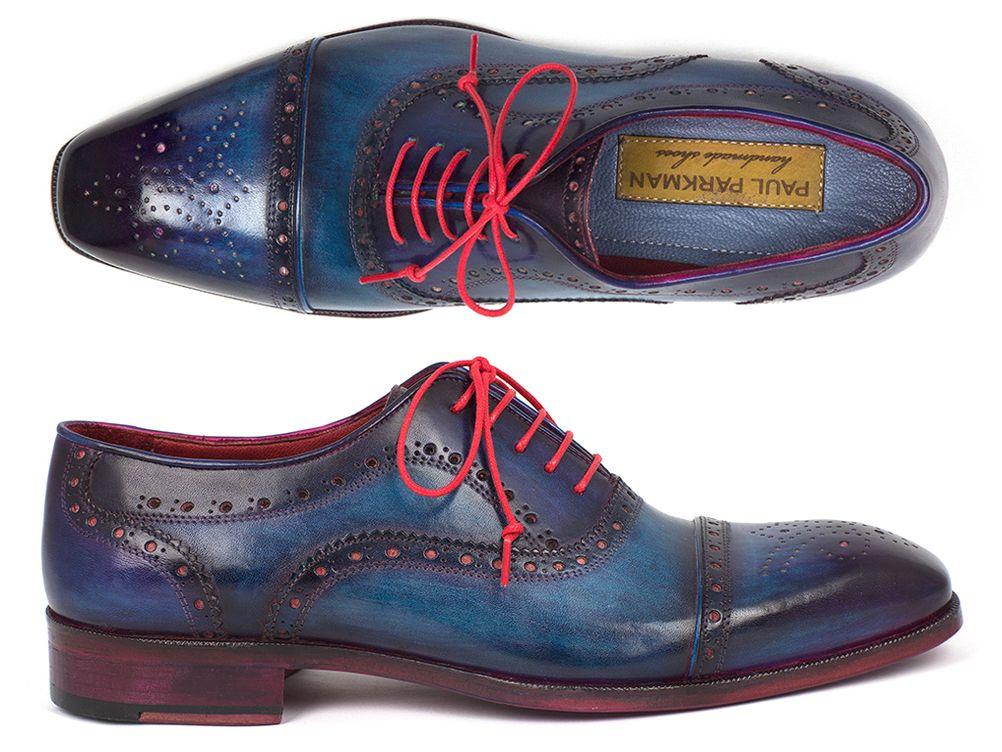 5cd3cbf54b1 Paul Parkman Men s Captoe Oxfords Blue   Parliament New Leather ...