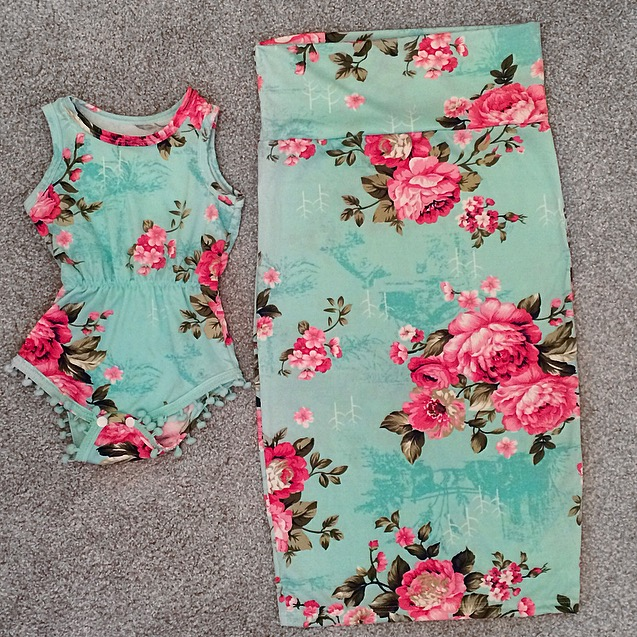 d00eebaeabcf2 Teal Floral Pencil Skirt (Mommy) · Kissable Baby Boutique · Online ...
