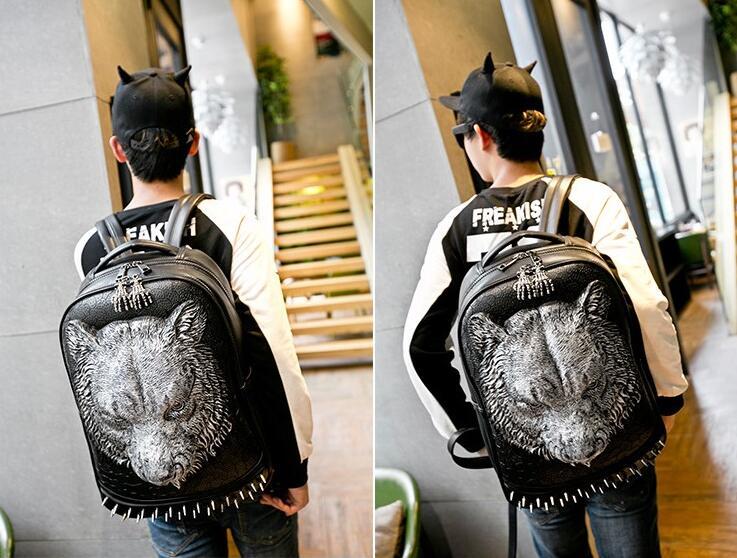 2016 New Fashion 3D tiger head shoulder bag/ large capacity Backpack/15  inch rivet leather Bag