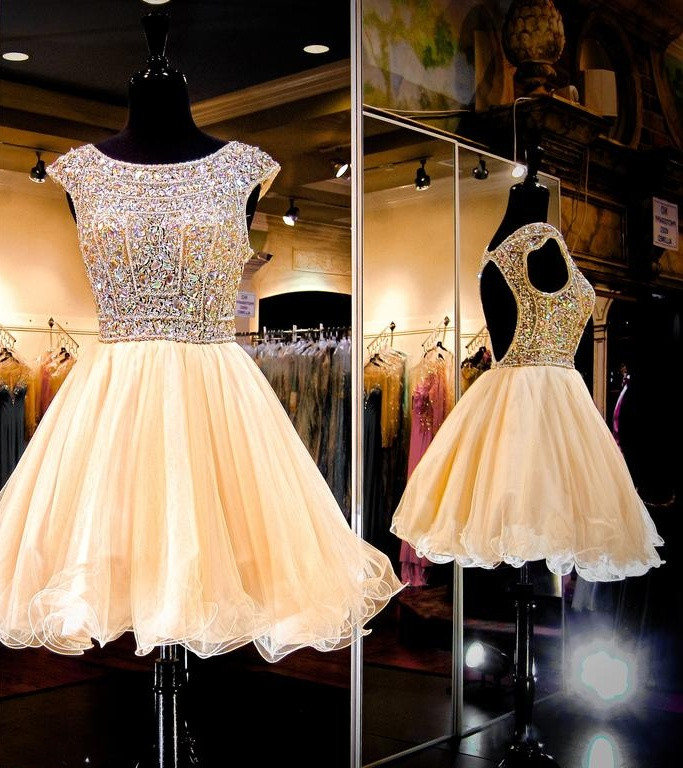 dce98ed474751 Sparkly Short Beading Homecoming Dresses,Gorgeous Cocktail  Dresses,Beautiful Graduation Dresses from 21weddingdresses