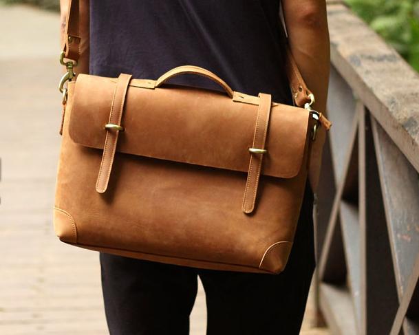 Handmade Vintage Leather Briefcase   Leather Messenger Bag   13