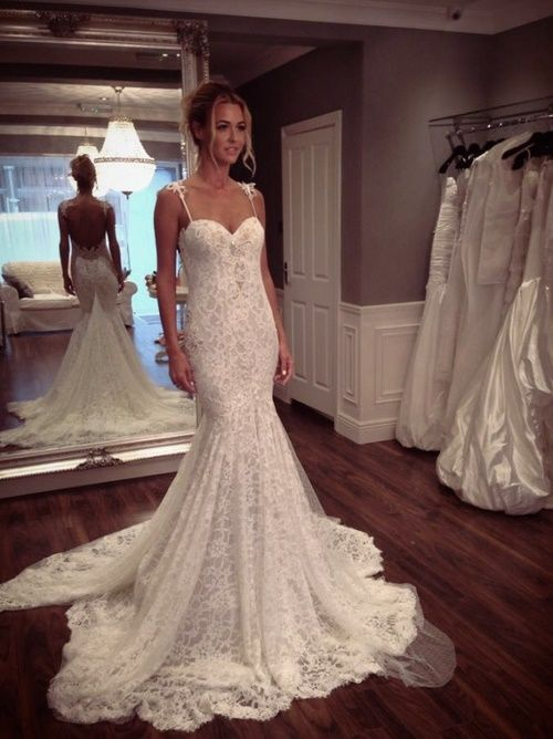 Wedding dresses,open back bridal gown,lace wedding dress,mermaid ...