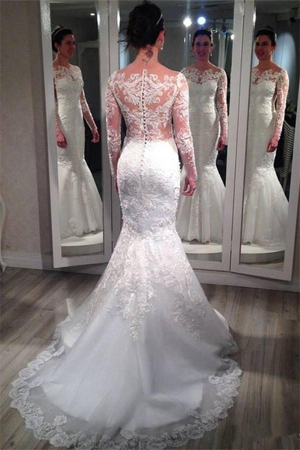 Long Mermaid wedding dress,Long sleeves wedding dress,See-through ...