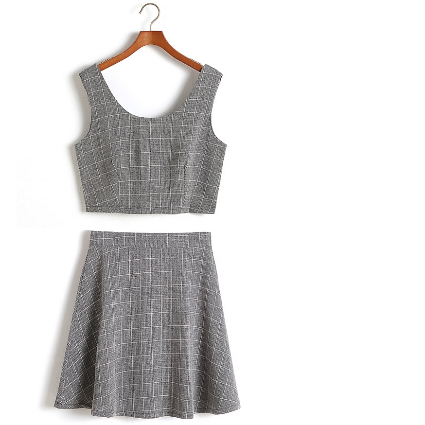 Grid Crop Top And Skirt Set On Storenvy