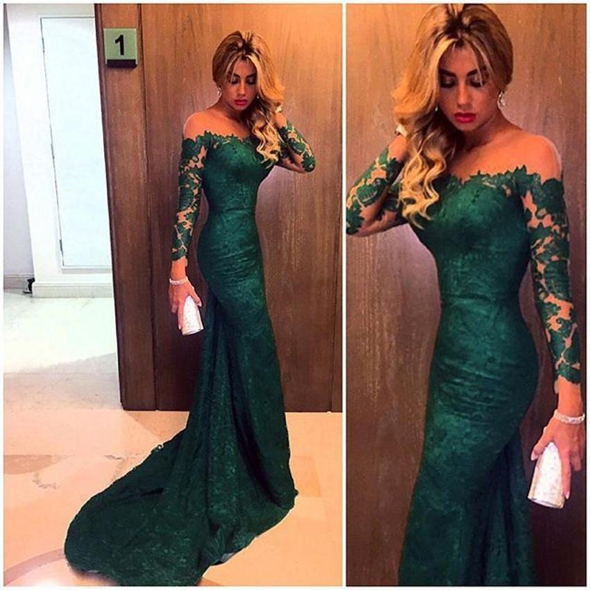 Green evening dresses long