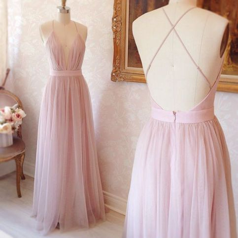 Pretty pink V-neck tulle prom dress,evening dress,formal dresses ...