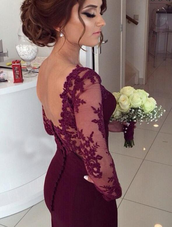 9ef5071498 ... Elegant Long Sleeves Appliques Top Court Train Long Prom Burgundy -  Thumbnail 2 ...
