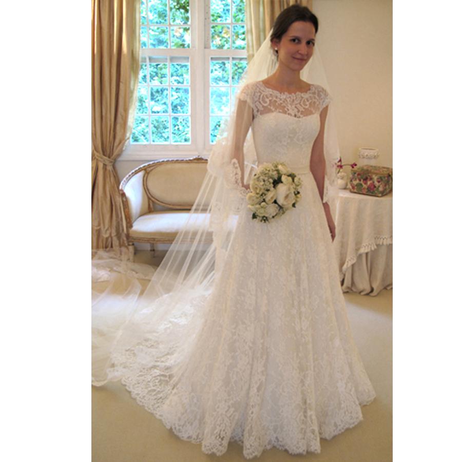Simple A Line Long Sleeve Wedding Dress Elegant 2016