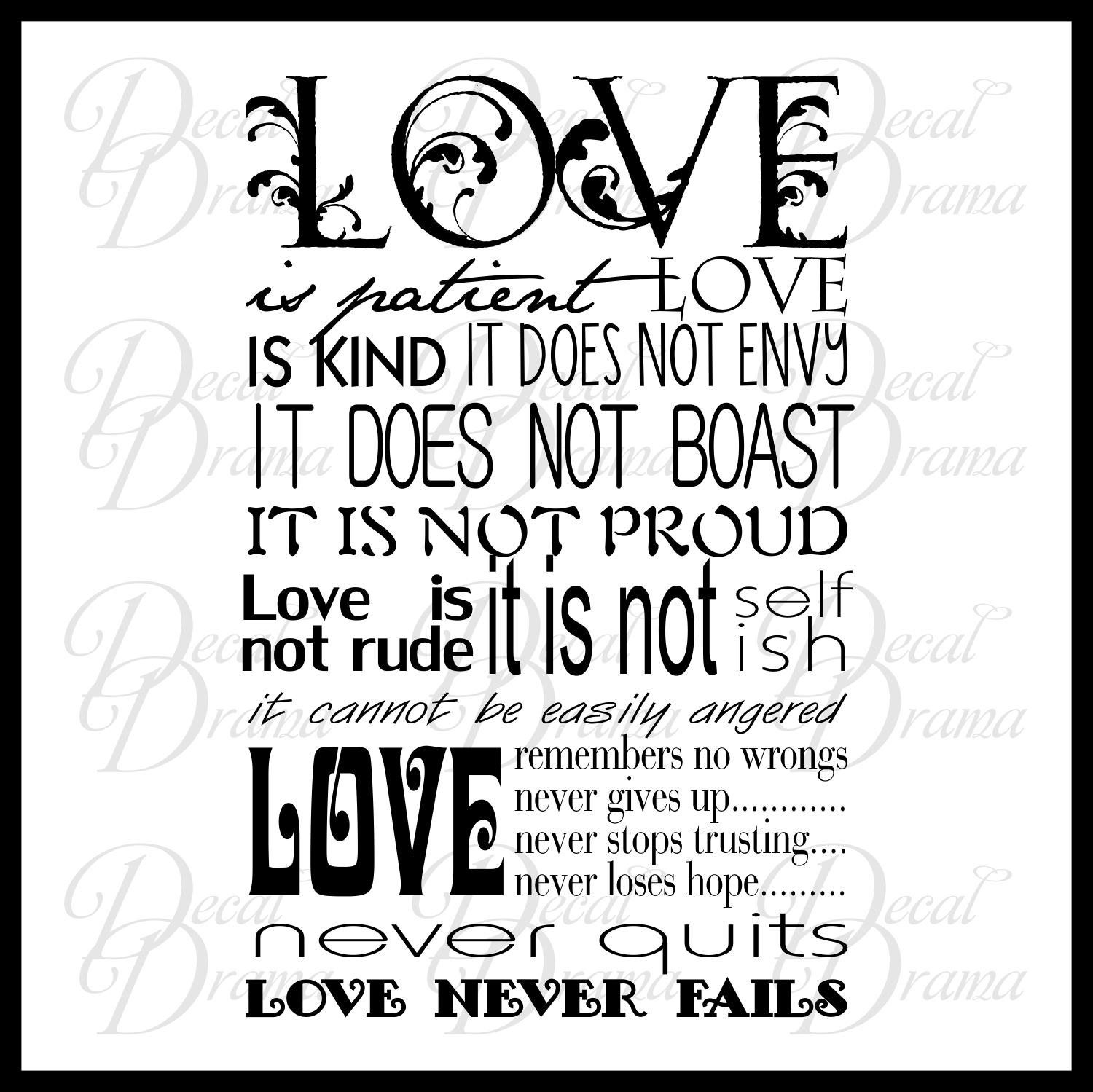 Scripture Love Is Patient Love Is Kind Inspired By 1 Corinthians 13 4 8 New Testament Verse