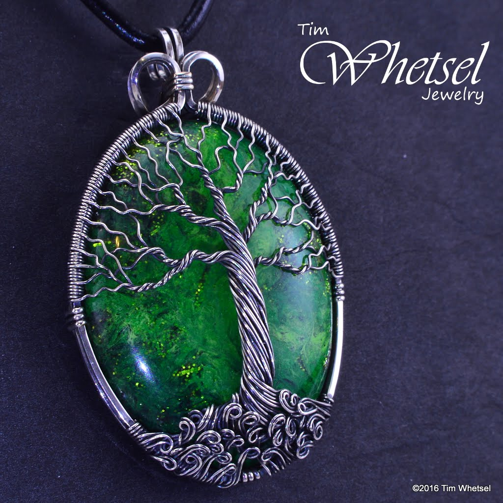 Custom Sterling Silver Tree Of Life Pendant With Green