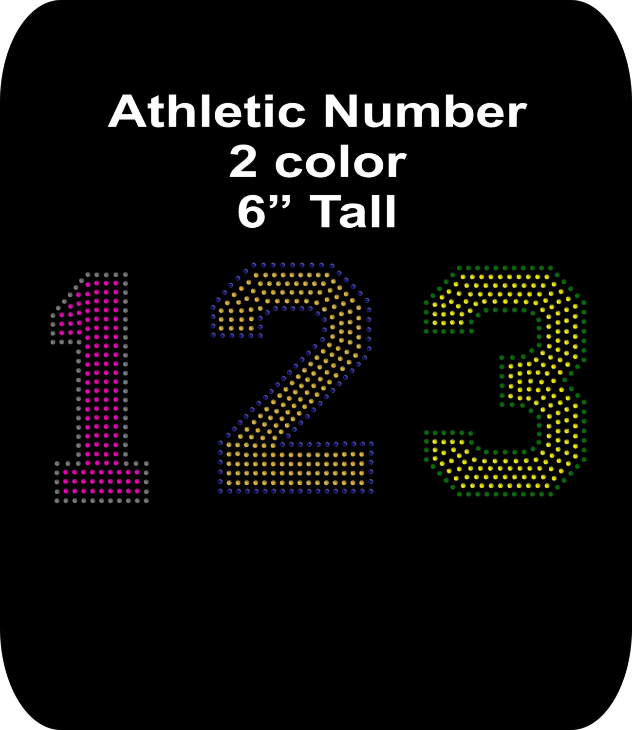 Rhinestone Bling Iron-on T-shirt Transfer - Athletic Number - Football  baseball soccer softball sports Your choice 0-9 Two color 6 In tall sold by
