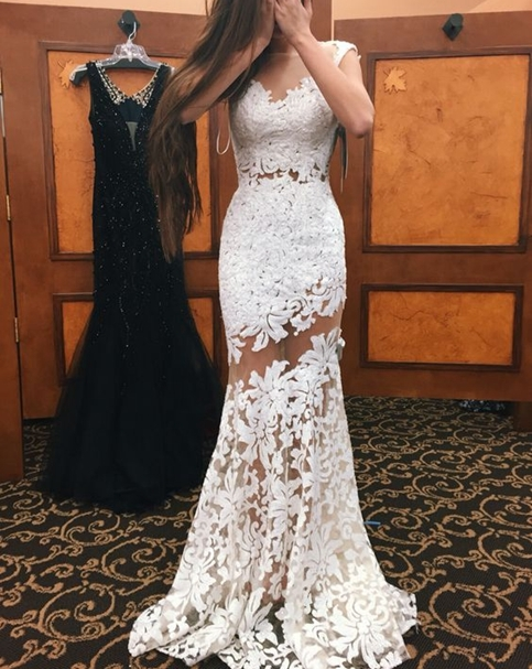 15face9ab08 White lace prom dress