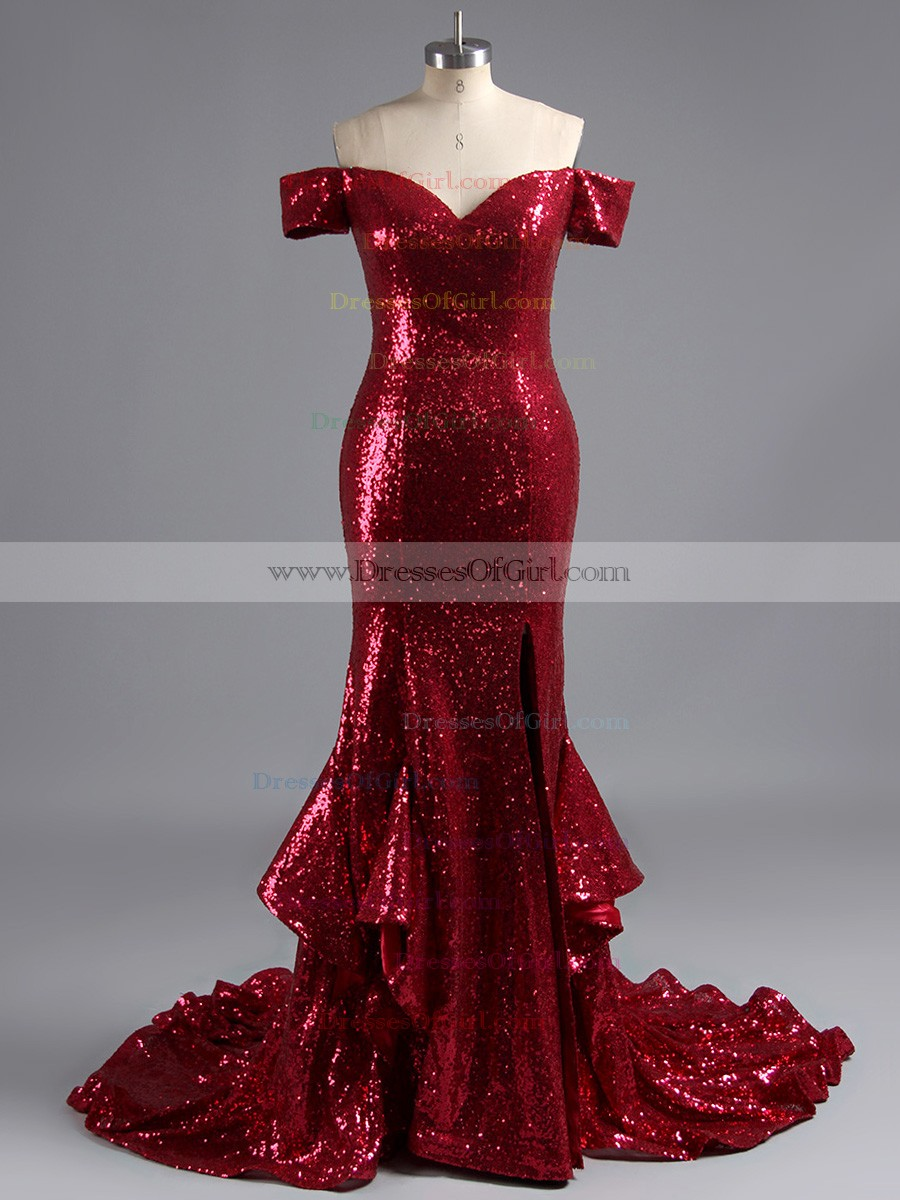 984b8556084e0 Sequined red prom dress with front split off the shoulder prom dresses with  ruffles fashion mermaid · O4737 1 small