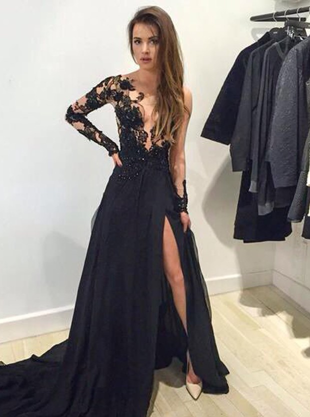 Fashion Long Sleeves Black Prom Dresses with side slit,XP156 on Storenvy