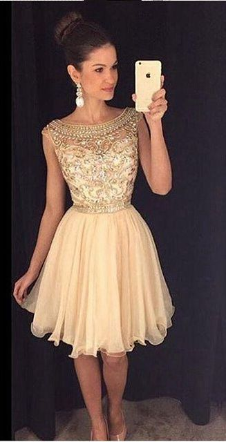 Cute champagne chiffon short prom dress with beautiful top details ...