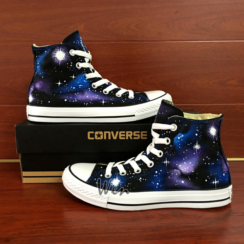 56028e3b7e1 Galaxy Stars Original Design Converse All Star Canvas Shoes Hand ...