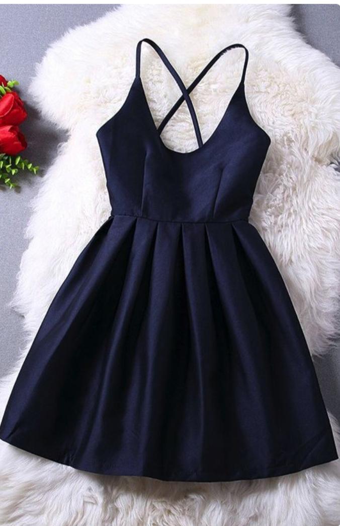 572932f9347e Spaghetti Strap Black Taffeta Homecoming Dresses Mini Party Dresses HC1617