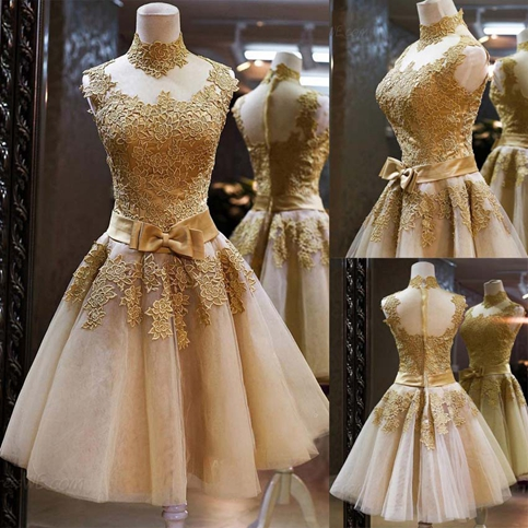 A,line gold lace short prom dress,homecoming dress,evening dress from  Little Cute