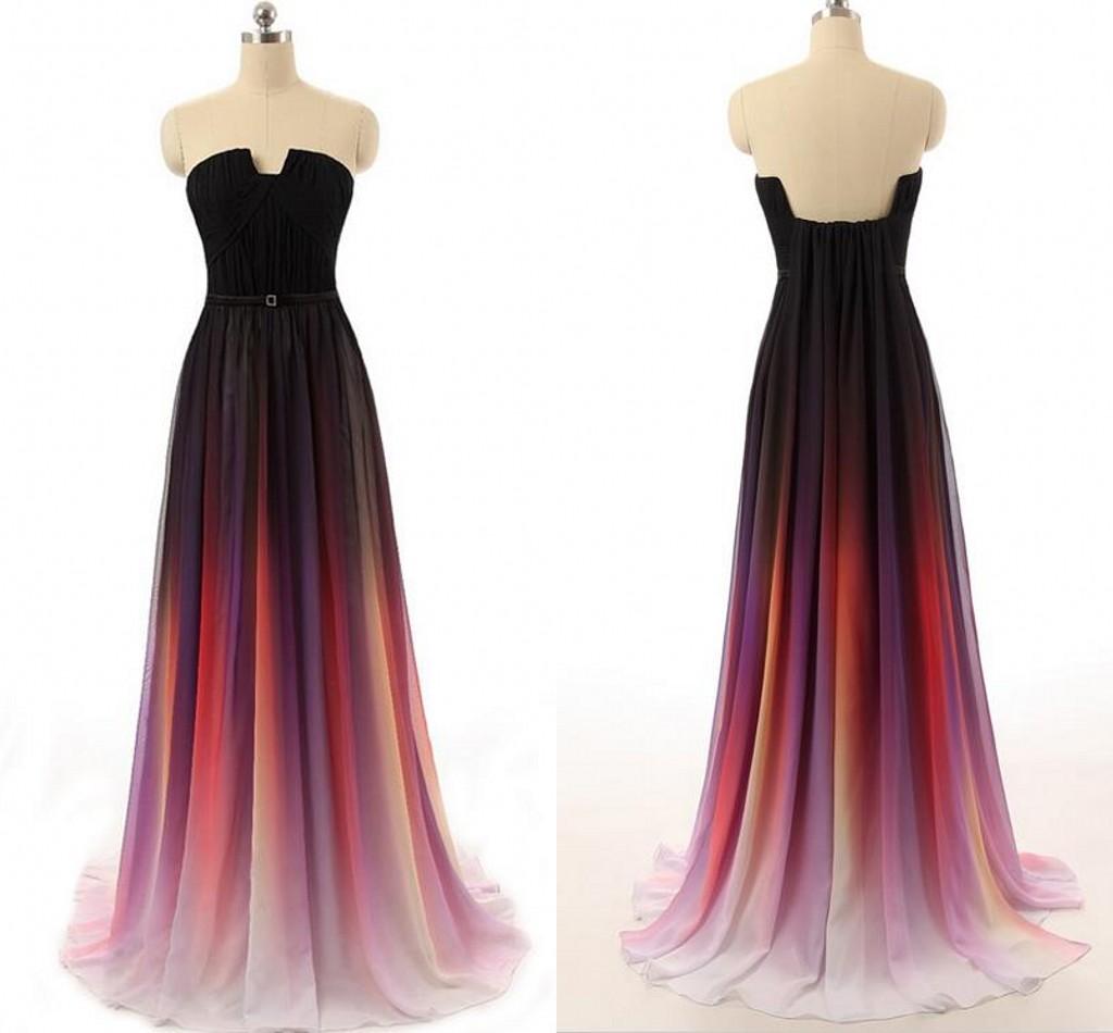 Chiffon Dressing Gown: Hot Sales Ombre Chiffon U Neck Long Prom Dress , A Line