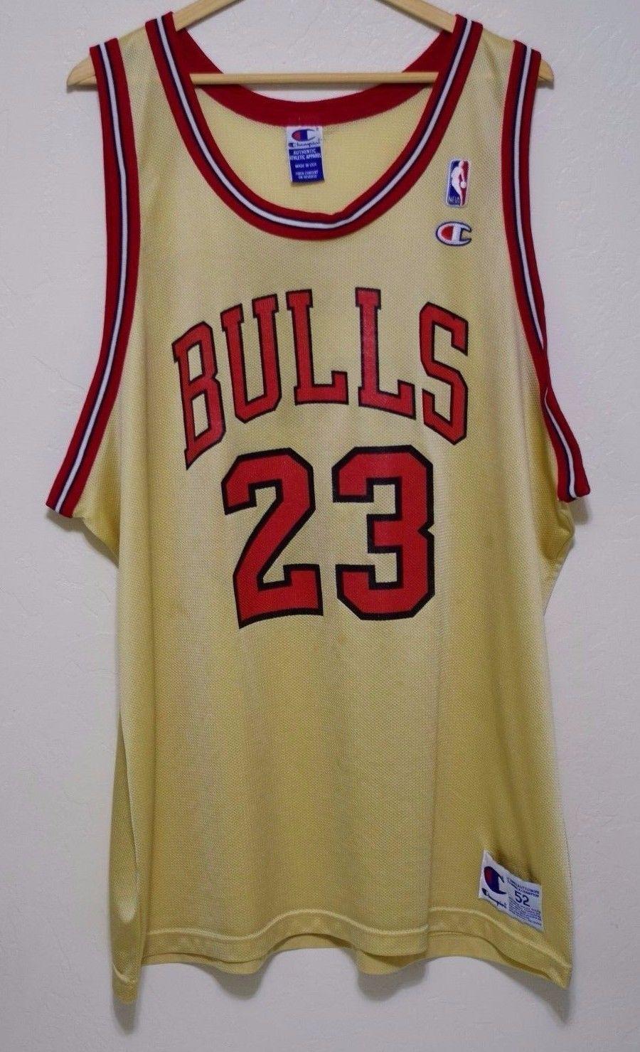 d895dae90f0 Size 52 | Vintage 90s Michael Jordan Chicago Bulls GOLD Champion ...