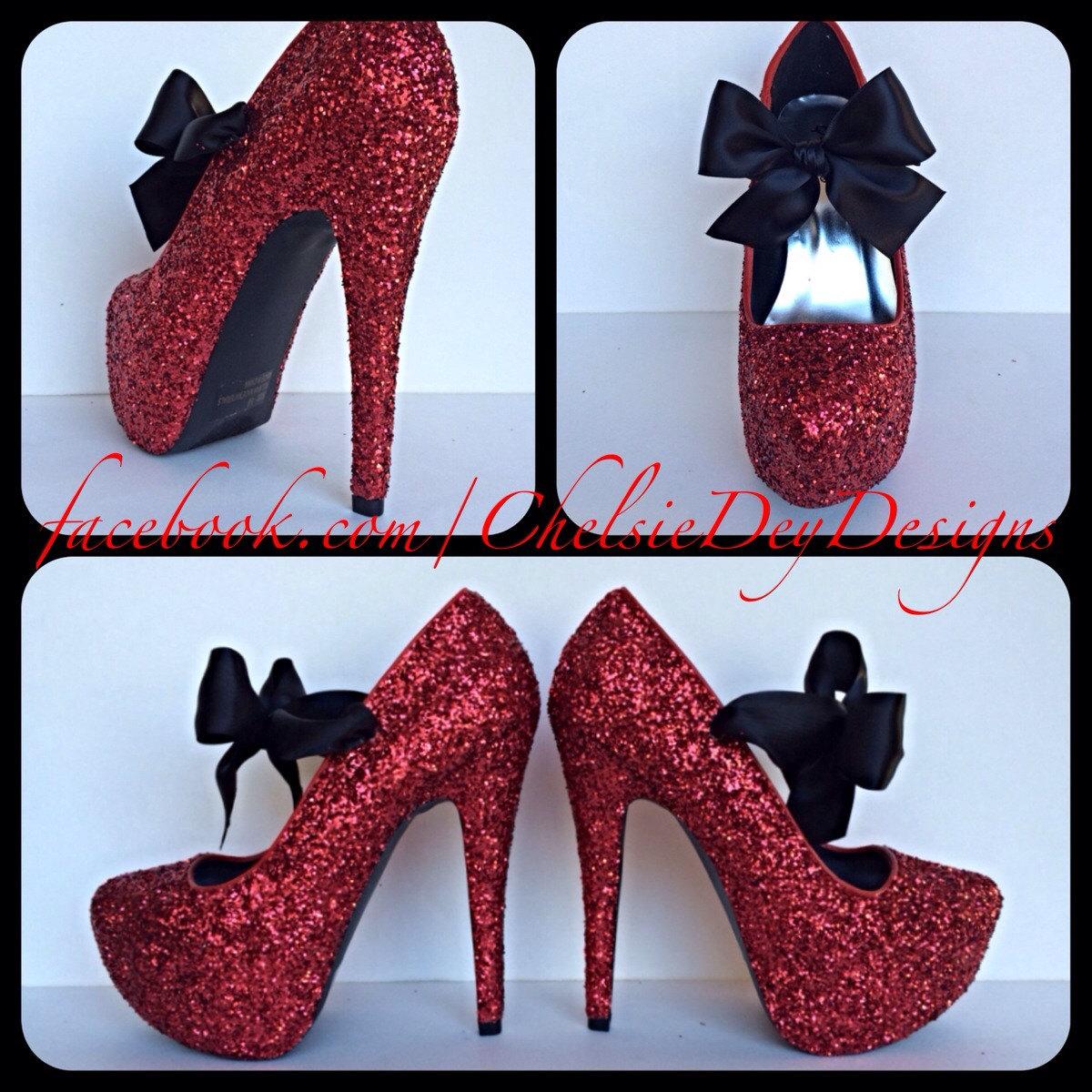 Red Glitter High Heels 63945b214