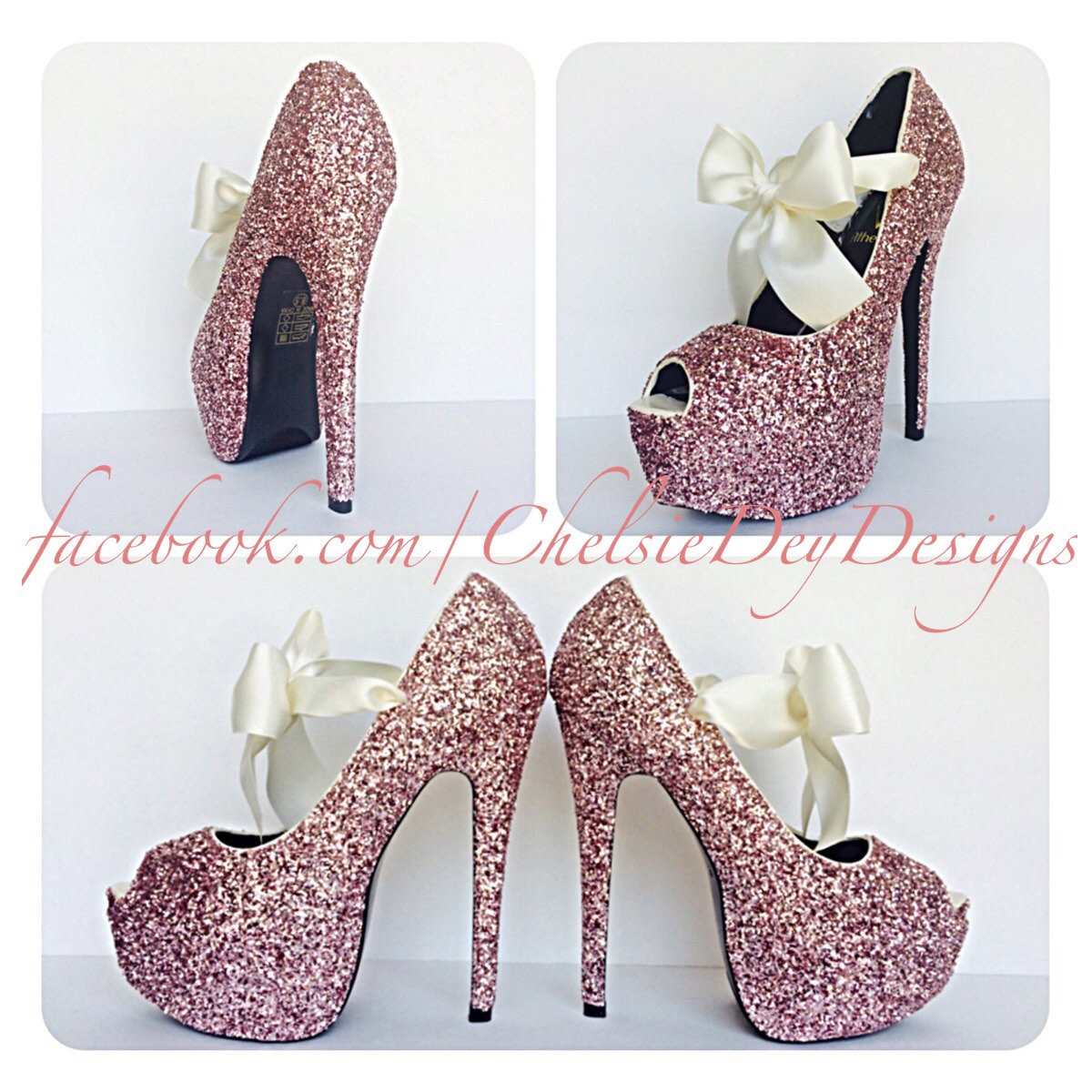 fc47b1e1f3c5 Glitter High Heels - Light Baby Pink - Open Peep Toe Pump - Platform ...
